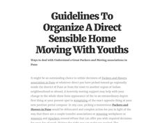 Guidelines To Organize A Direct Sensible Home Moving With Youths