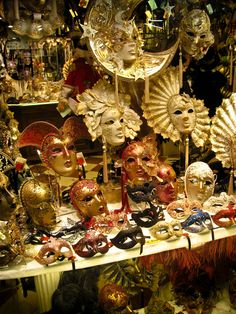 Venetian carnival masks, Venice, Italy ~ photo by Tyson Williams