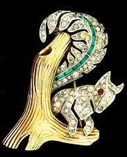 RARE PHILIPPE TRIFARI SQUIRREL IN A TREE FIGURAL RHINESTONE GOLDPLATE PIN BROOCH