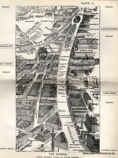 "The Strand - A bird's-eye view from Herbert Fry's ""London"" (1891)"