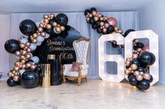 first birthday theme 60th Birthday Theme, 50th Birthday Party For Women, 50th Birthday Party Decorations, Elegant Birthday Party, Gold Party Decorations, Golden Birthday, Graduation Balloons, Birthday Balloons, Backdrops For Parties