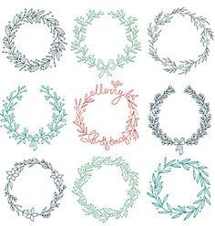 Set of winter wreaths vector- by Julia_Henze on VectorStock®