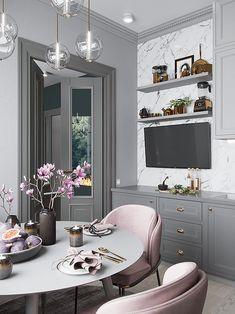 Den som funderar på att renovera kök kanske finner inspiration via detta gråa harmoniska kök med fina detaljer. Och jag som tjatar om att hitta balans mellan raka och runda/mjuka former gillar förstås hur formen på köksfläkten bryter av fint mot resten av kökets just raka linjer. Om någon kritik möjligtvis skulle delas ut så …
