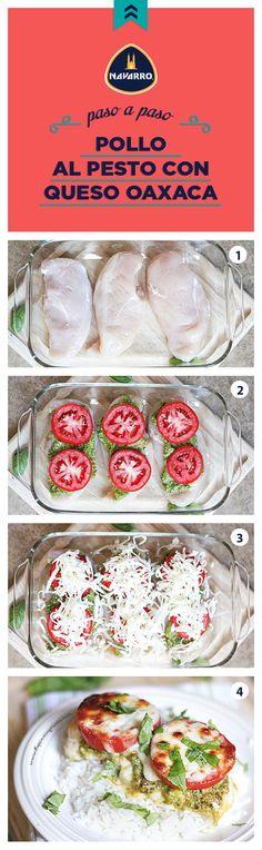 Esta semana puedes preparar este suculento Pollo al pesto con Queso Oaxaca NAVARRO gratinado. Es sencillo, bajo en grasa y súper sabroso.