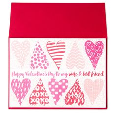Front view of valentine greeting card