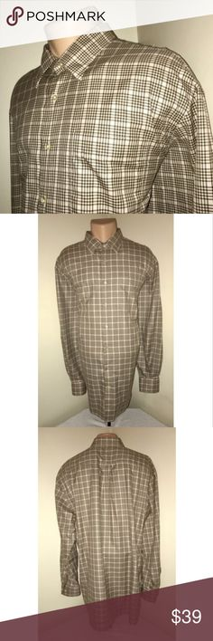 Peter Millar Men's Extra Large Plaid Dress Shirt Description Size: Extra Large (XL) Color: Brown, Tan & Pink Plaid Tag Measurements- XL Material: 100% Cotton Condition: Excellent Features: Long sleeve, Rarely worn, Comfortable and lightweight, Front left breast pocket, Hidden Button Down Collar Flaws: None   Measurements:  Chest - 27 inches  Shoulder - 22 inches  Sleeve - 25.5 inches  Length - 24.5 inches Peter Millar Shirts Dress Shirts