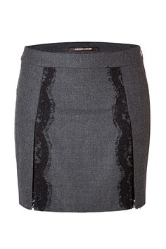 Roberto Cavalli Stretch Wool Mini-Skirt with Lace in Dark Heather Grey Wool Mini Skirt, Mini Skirts, Roberto Cavalli, Skirt Pants, Dress Skirt, Mode Outfits, Fall Dresses, Heather Grey, Dress Patterns