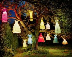 Gorgeous quirky party lights. Little girls' dresses. Love!