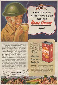 "Nestles Sweet Cocoa mix, 1943. ""Back the attack""."