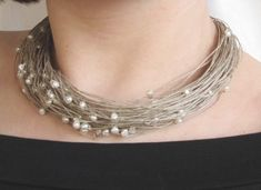 Pearl Linen Necklace Natural Pearls White by DreamsFactory on Etsy, $45.00
