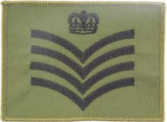 Squadron Quartermaster Sergeant - Crown / 4 Chevrons Black On Olive - QDG NCO or Officer Cadet rank badge for sale Queen Elizabeth Crown, Military Ranks, Royal Marines, Royal Air Force, British Army, Badges, Chevron, Badge