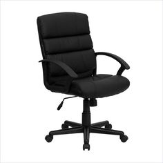 Flash Furniture Mid-Back Leather Office Chair in Black - GO-1004-BK-LEA-GG