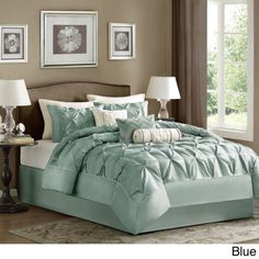 BEAUTIFUL 7PC MODERN ELEGANT IVORY BLUE TEXTURED COMFORTER SET King Queen Cal