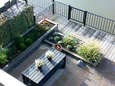tuinontwerp met verhoogde bakken - Google zoeken Scandinavian Garden, Outdoor Furniture Sets, Outdoor Decor, Garden Bridge, Garden Inspiration, Garden Design, New Homes, Deck, Backyard
