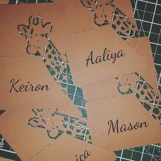 Printed giraffe place names! #jld #new #placecards #placenames #printing #printedplacenames #cool #order #weddingseason #weddings #weddingday #etsy #etsyseller #etsygifts