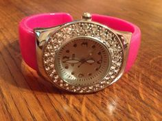 New Pink Round Fancy Rhinestone Cuff Watch #Geneva #Fashion