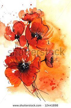 Red Poppy Flowers Stock Illustrations & Cartoons   Shutterstock
