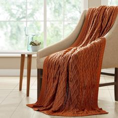 MODERN THREADS Cinnamon Cotton Oversized Cable Diamond Knit Throws 5HCBL478-CNM-ST - The Home Depot Oversized Throw Blanket, Chunky Knit Throw, Cotton Throws, Knitted Blankets, Evening Curls, Classic Throws, Soft Blankets, Cinnamon, Sofa