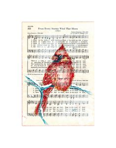 Cardinal in Snow 5x7 Fine Art Print from Watercolor Sheet Music from Inspirational Hymn From Every Stormy Wind That Blows Kit Sunderland