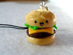 Cute Kawaii Hamburger Charm with Cell Phone Strap.  via Etsy.