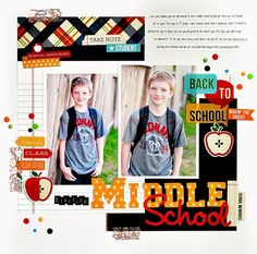 Simple Stories Smarty Pants Starting Middle School layout by Ginger Williams- Scrapbook.com