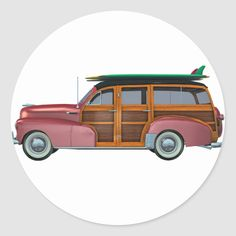 A classic red woody automobile ready ready to travel to the beach Size: inch (sheet of Gender: unisex. California Logo, Wooden Car, Round Stickers, Beach Trip, Woody, Surfboard, Custom Stickers, Coloring Books, Activities For Kids