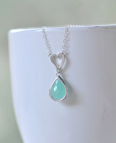 Sweet Simplicity  Silver Heart Charm Pendant and Aqua by RusticGem