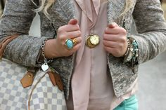 cute as look. LOVE the jacket. jewellery. gold. silver. turquoise. beads.