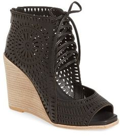 Women's Jeffrey Campbell Rayos Perforated Wedge Sandal