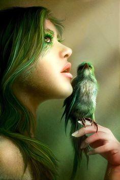 Ce tableau est un grand mystère car on voit rarement une personne avec des cheveux verts et un oiseau dans les mains.La technique que l'artiste a utilisée est la peinture. Il y a pas beaucoup de couleurs utilisées. Le vert est la couleur la plus représenté dans ce tableau. Lorsque je vois ce tableau je ressens de la curiosité. Le regard m'intrige et vous? Illustrations de Nell Fallcard
