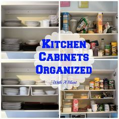 Kitchen Cabinets Organized ~ using one type of basket and gaining loads of space !   #kitchen #cabinetorganizing #organizing #DIY #shelves v...