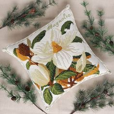 The Elizabeth Bradley Magnolia Needlepoint Kit on cream background from the Evergreen Series