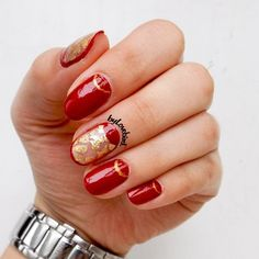 Red Nails with Gold foil accents byLovebird  #rednails #goldfoil #gold #foil #red #nails #nailart #nail #art #byLovebird #half #moon #halfmoon #elegant #elegantnails