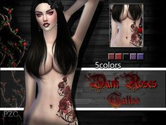 """Dark Roses Tattoo - the sims 4 - """"by Pinkzombiecupcakes """" Dark Roses Tattoo, Rose Tattoo On Back, Rose Tattoos, Sims 4 Cc Skin, Sims Cc, Maxis, Sims 4 Tattoos, Sims 4 Cc Shoes, Sims 4 Cc Makeup"""