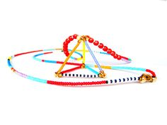 3D Triangle Necklace Beaded Tribal Necklace by HippieThings