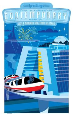 Walt Disney World Hotels and Resort Posters - Contemporary Disney World Hotels, Disney World Resorts, Disney Parks, Disney Fan, Disney Vacations, Disney Trips, Disney Theme, Walt Disney Resort, Disney Stuff