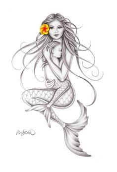 """Keiki Embrace"" Mermaid Art by Mary Beth ""Keiki Umarmung"" Meerjungfrau-Kunst durch Mary Beth – heute Pin Baby Mermaid Tattoo, Mermaid Tattoos, Mermaid Art, Mermaid Thigh Tattoo, Mermaid Images, Mermaid Disney, Baby Tattoos, Finger Tattoos, Body Art Tattoos"