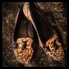 Cole Haan loafers Cheetah print fur Cole Haan loafers. Size 8.5 Made in Brazil. 1 inch heel. Cole Haan Shoes Flats & Loafers