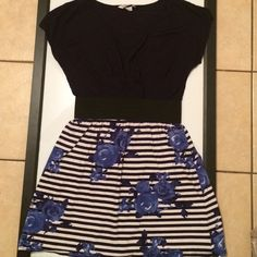 ✨NEWLY LISTED✨ PRETTY BLUE STRIPE & FLOWER DRESS Super soft dress with elastic band to define a higher waist. Fun flirty and ready to wear on that first date Dresses
