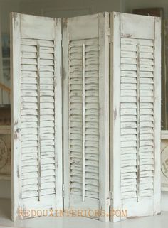 How to Paint Old Shutters and Use for Decor - Old wood shutters get a brand new look with CeCe Caldwells Nantucket Spray, and secret no mess distressing tip! #h…