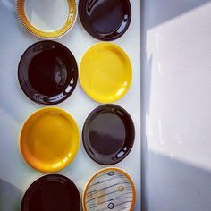 """Polubienia: 9, komentarze: 0 – modern (@modern_old2new) na Instagramie: """"Pottery set of 8 plates made in Norway by Inger Waage in 60s in Stavangerflint. 1 plates decor…"""" Norway, Scandinavian, Pottery, Plates, Modern, How To Make, Instagram, Decor, Weighing Scale"""