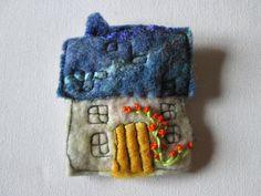 felt brooch felt house felt pin. by SueForeyfibreart on Etsy, £8.00