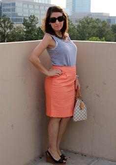 Pretty In Her Pearls|J.Crew Pencil Skirt and Banana Republic tank top.  www.prettyinherpearls.com