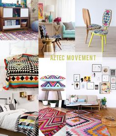 the aztec movement. color, bright, print for your home. bedroom  living room