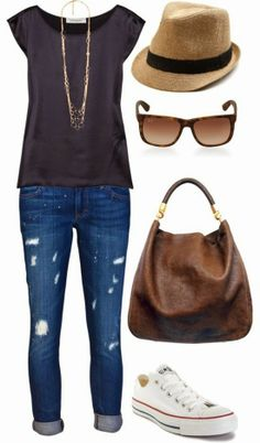 Grey tee, folded skinny jeans, chucks, fedora, aviators, neutral bag, & long necklace
