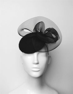 Black Beaded Silk Cocktail Hat - Black Fascinator- Black Winter Races Hat -  Vintage Inspired Pillbox Hat - Black Winter Wedding Hat- Tina. Wedding Hats  ... a308e370bcea