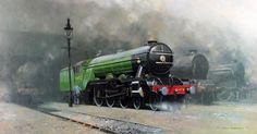 Railway Art Gallery: David Shepherd --- Painting of Flying Scotsman Diesel Locomotive, Steam Locomotive, Steam Art, Heritage Railway, Flying Scotsman, Steam Railway, Train Art, Railway Posters, Steam Engine