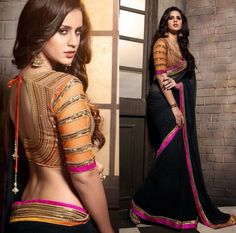 Look good in black Saree with pink border. Black Saree Blouse, Indian Blouse, Indian Sarees, Indian Attire, Indian Ethnic Wear, Beautiful Blouses, Beautiful Saree, Indian Dresses, Indian Outfits