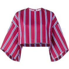 Stella Jean Cropped Striped Top ($225) ❤ liked on Polyvore featuring tops, shirts, cotton shirts, cotton 3/4 sleeve tops, three quarter sleeve shirts, 3/4 length sleeve tops and 3/4 sleeve shirts