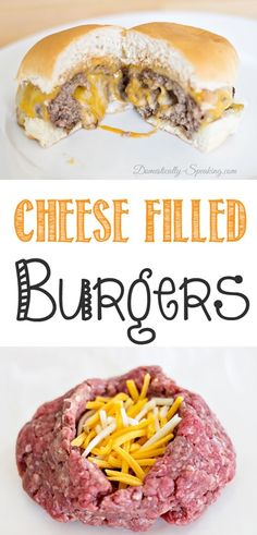 Cheese Filled Burgers with Barbeque Ranch Dressing - Domestically Speaking